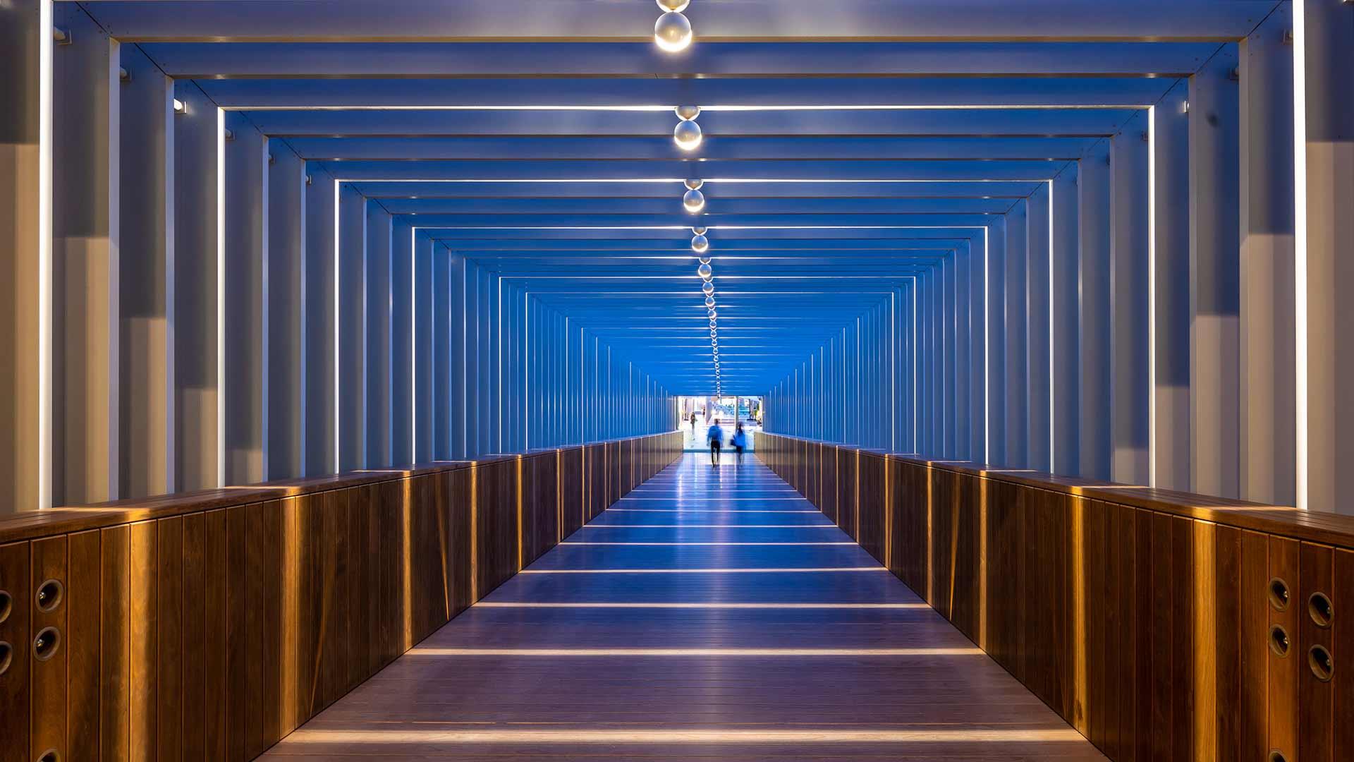 Lighting Design Interior Bridge Walkway 360 Degree Repetitive Bands Halos Portal Light Dubai Nulty