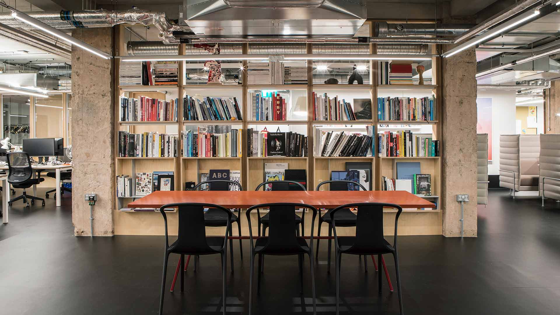 Lighting Design Creative Workplace Breakout Space Table Chairs Library Bookshelves London Nulty