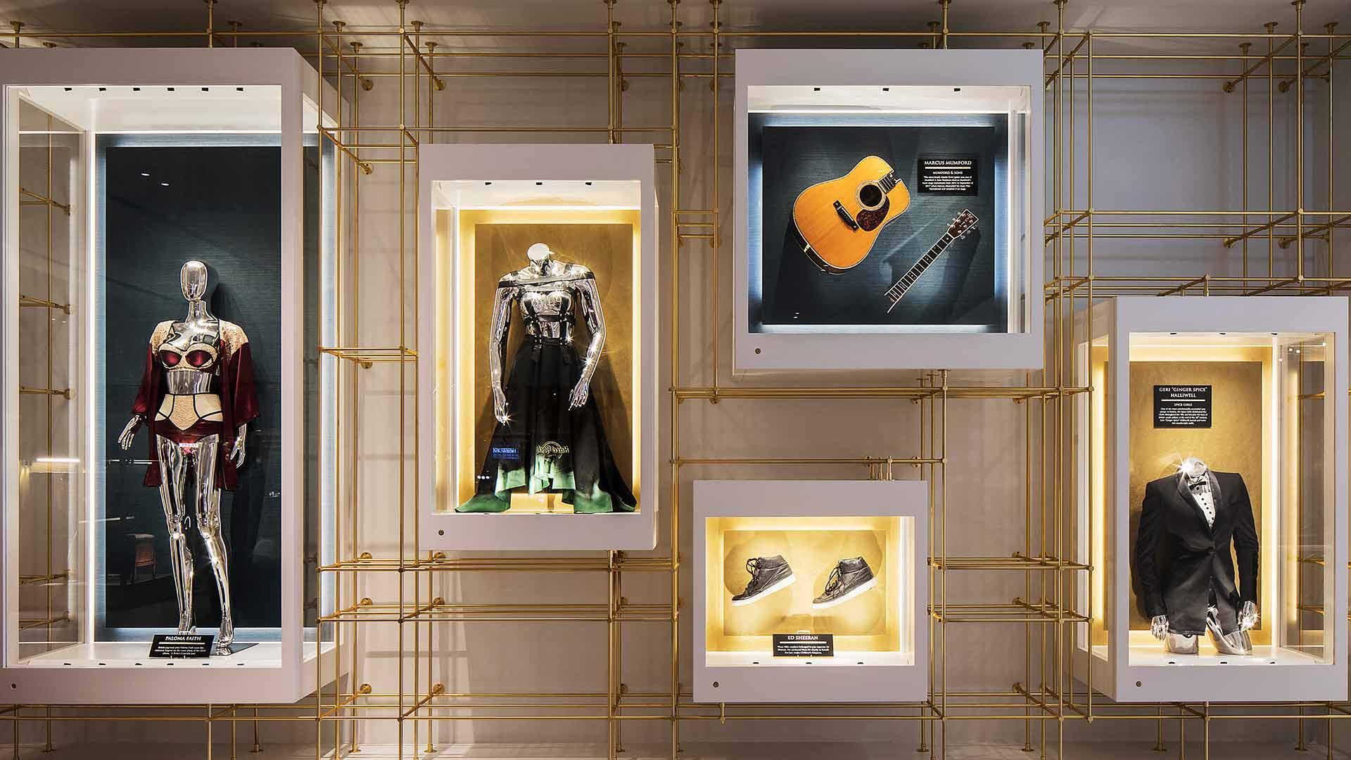 Lighting Design Illuminated Wall Mounted Display Cases Music Memorabilia Ed Sheeran Geri Halliwell Hard Rock Hotel Nulty