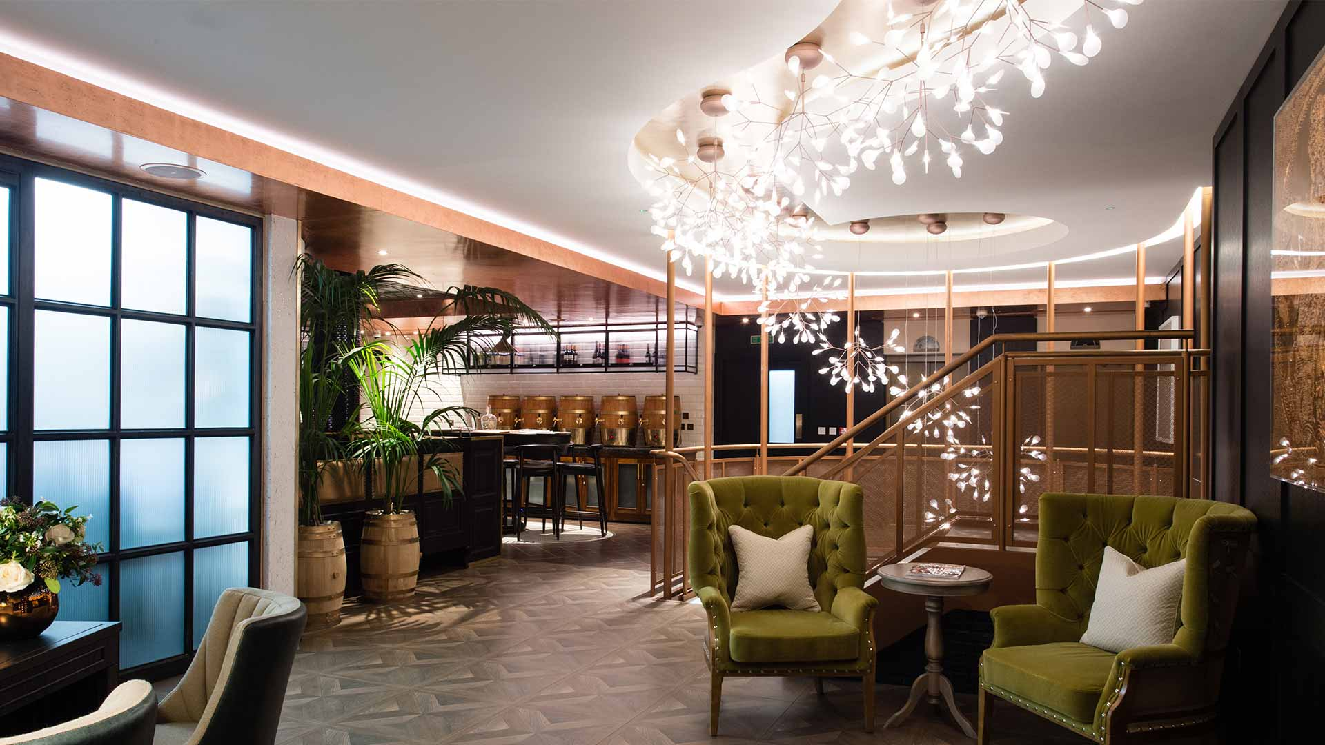 Vintry & Mercer Hotel Reception Lobby Botanical Inspired Light Installation Architectural Lighting Design Consultants Nulty