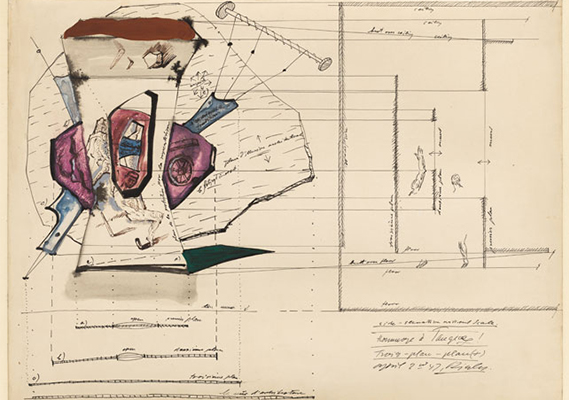 Frederick Kiesler Architectural Plan for the Room of Superstitions