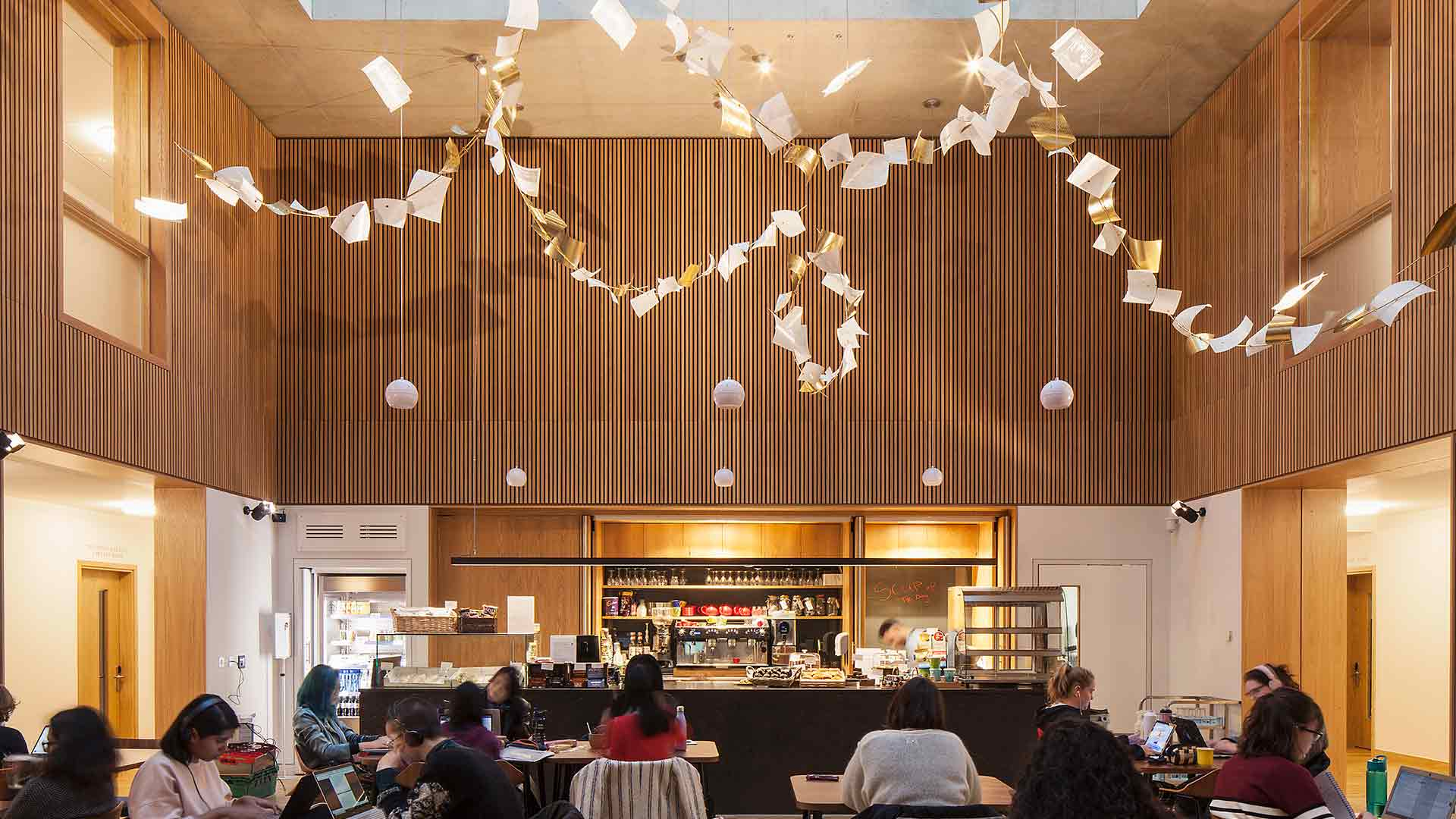Light Art Installation Flying Etched Papers Newnham College Cambridge Contemporary Cafe Consultants Nulty