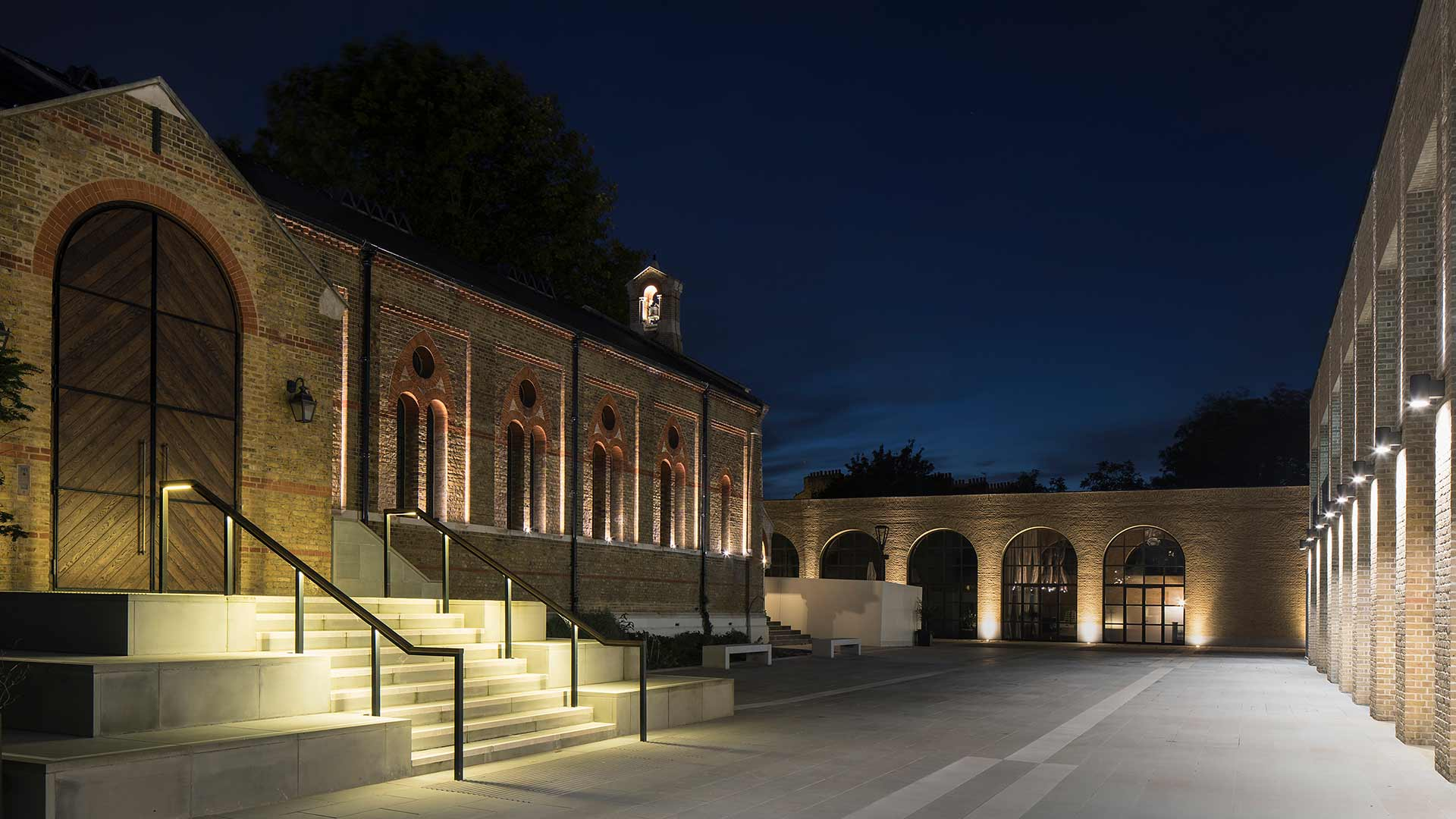 Nulty - Chelsea Barracks, London - Architectural Lighting Design Chapel Exterior Bell Tower Steps Handrails Facade Illumination