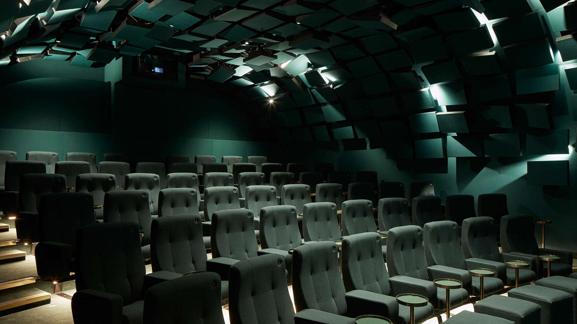 Architectural Lighting Design Dramatic Angled Acoustic Panels Arched Feature Ceiling Stylish Boutique Cinema London Nulty