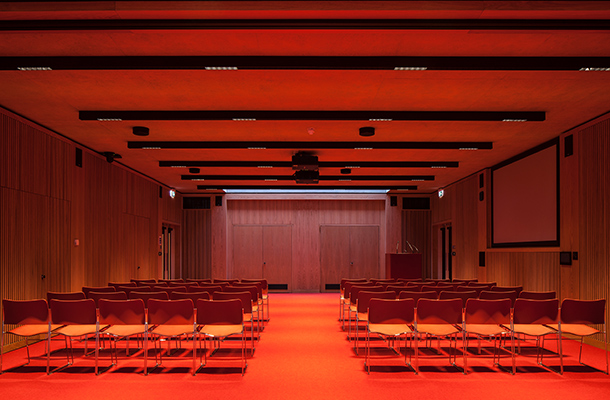 Lighting Design Red Illumination University Lecture Hall Newnham College Cambridge Nulty