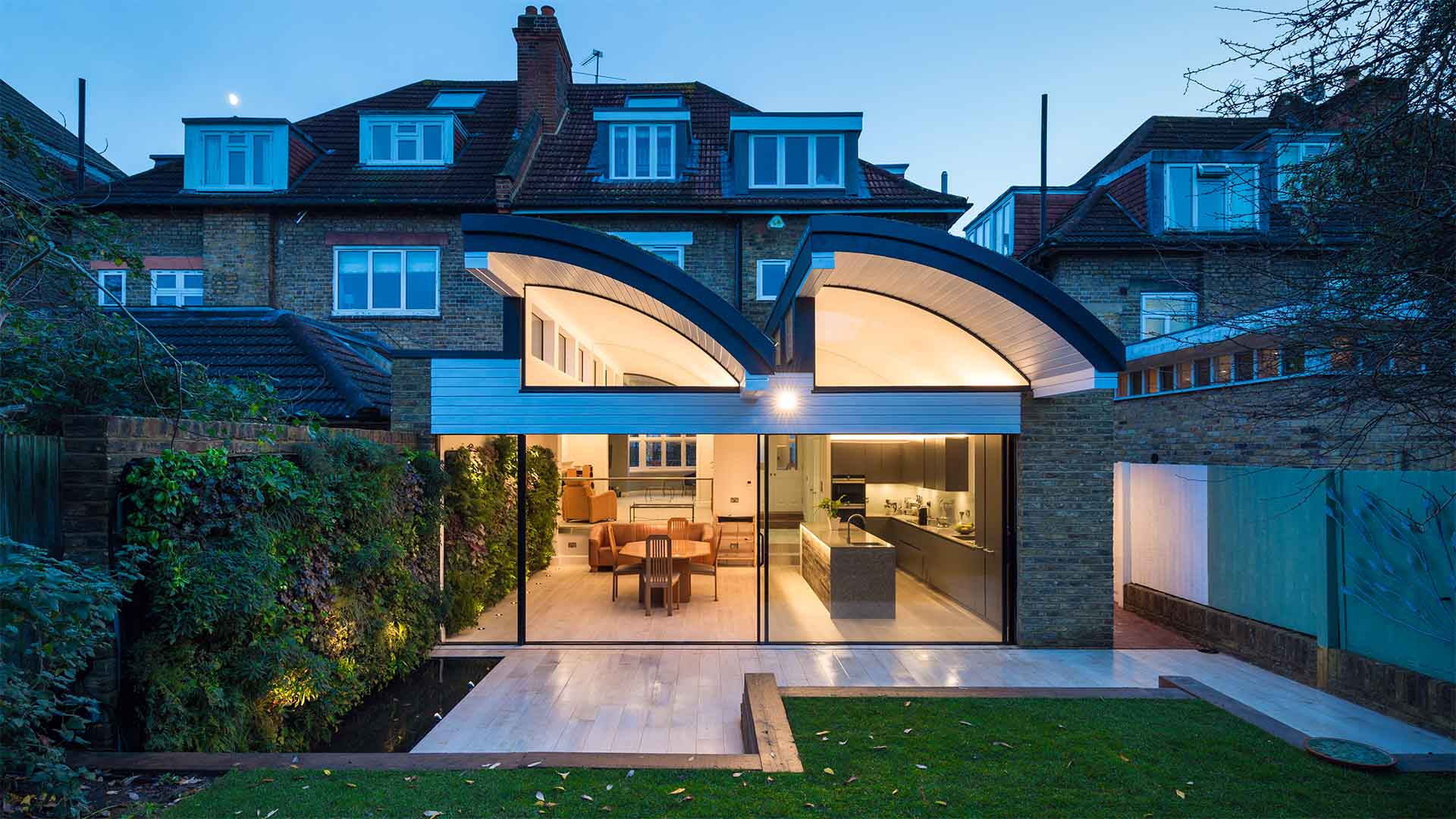 Architectural Lighting Design Residential Extension Kitchen Living Space Dual Vaulted Roof Indoor Outdoor Living Wall Designers Nulty