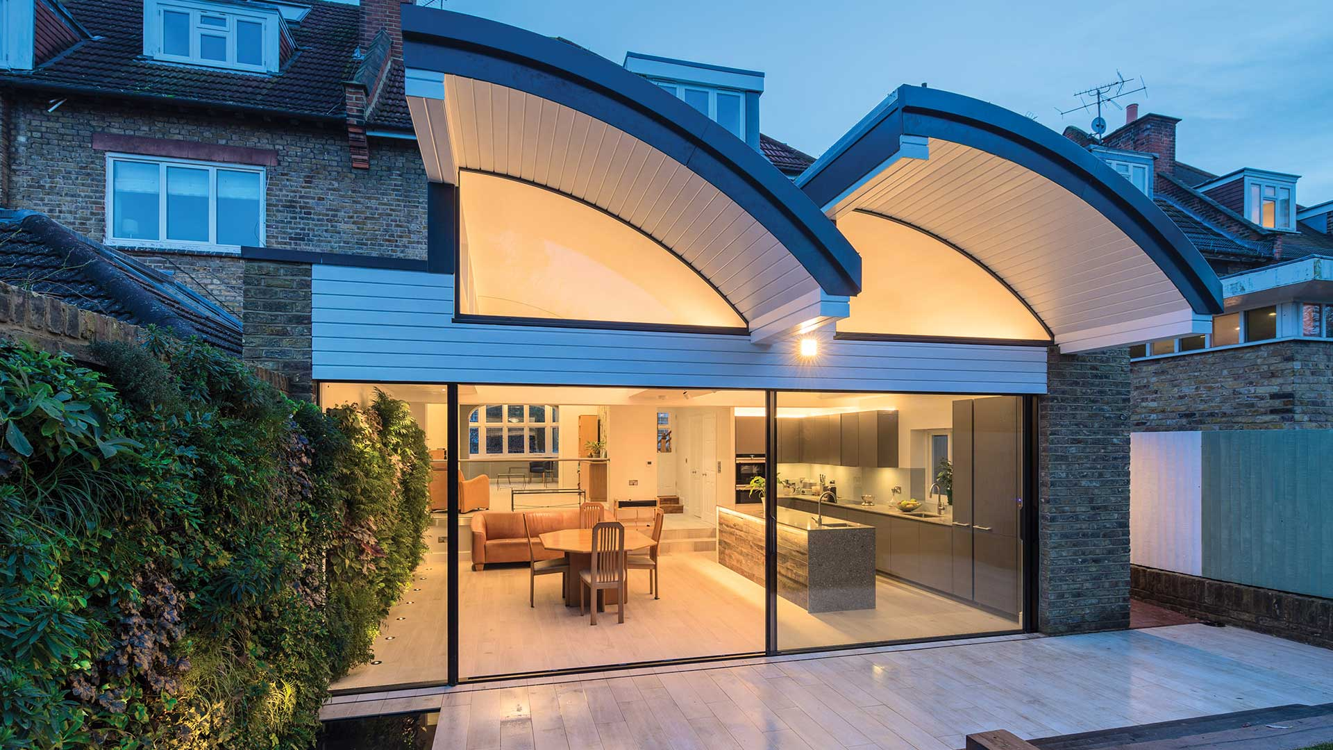 Architectural Lighting Design Residential Extension Kitchen Living Space Dual Vaulted Roof Living Green Wall Designers Nulty