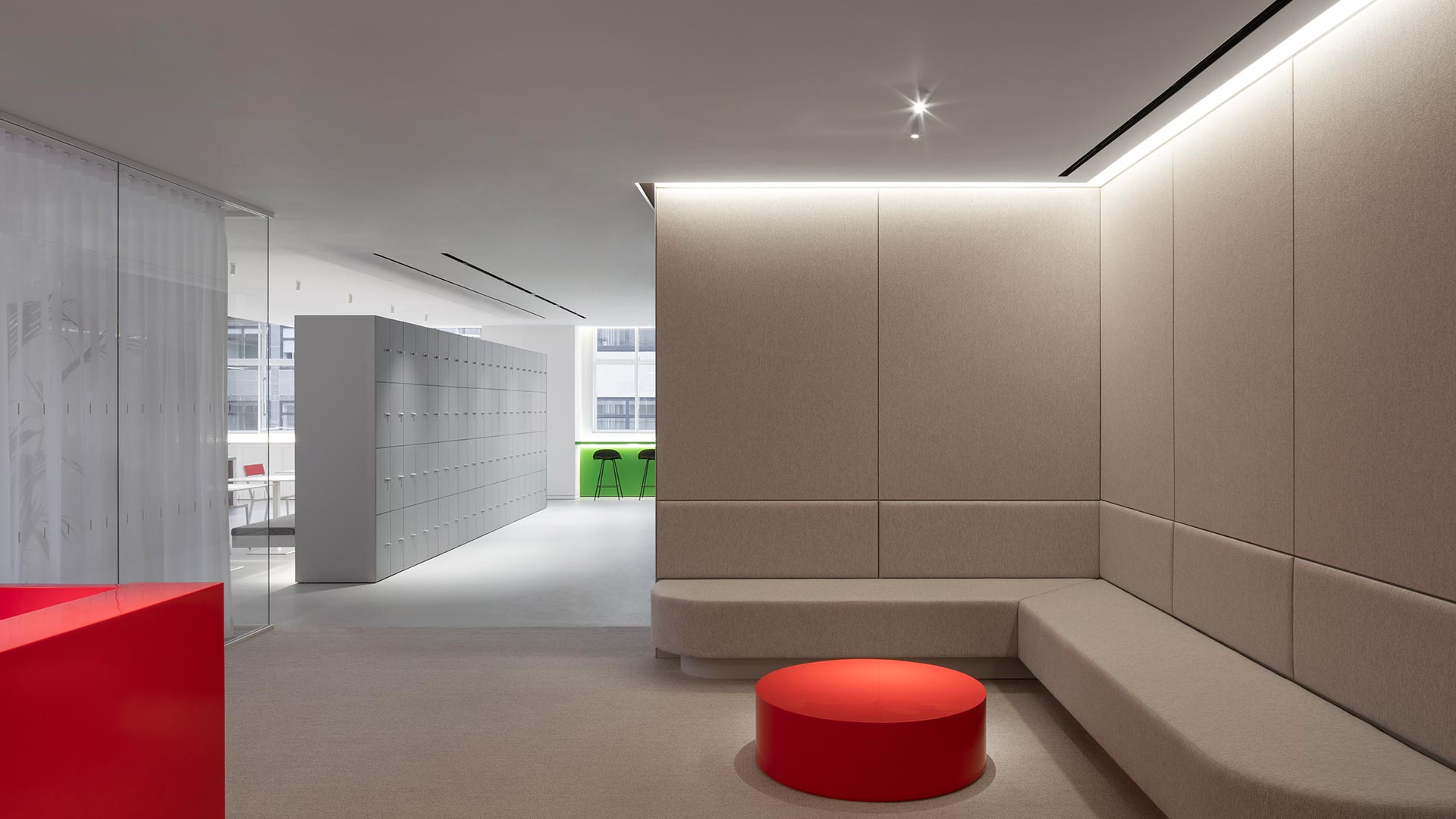 Architectural Lighting Design Modern Stylish Office Minimalist Reception Grey Fabric Walls Feature Red Furniture Cove Illumination Consultants Nulty