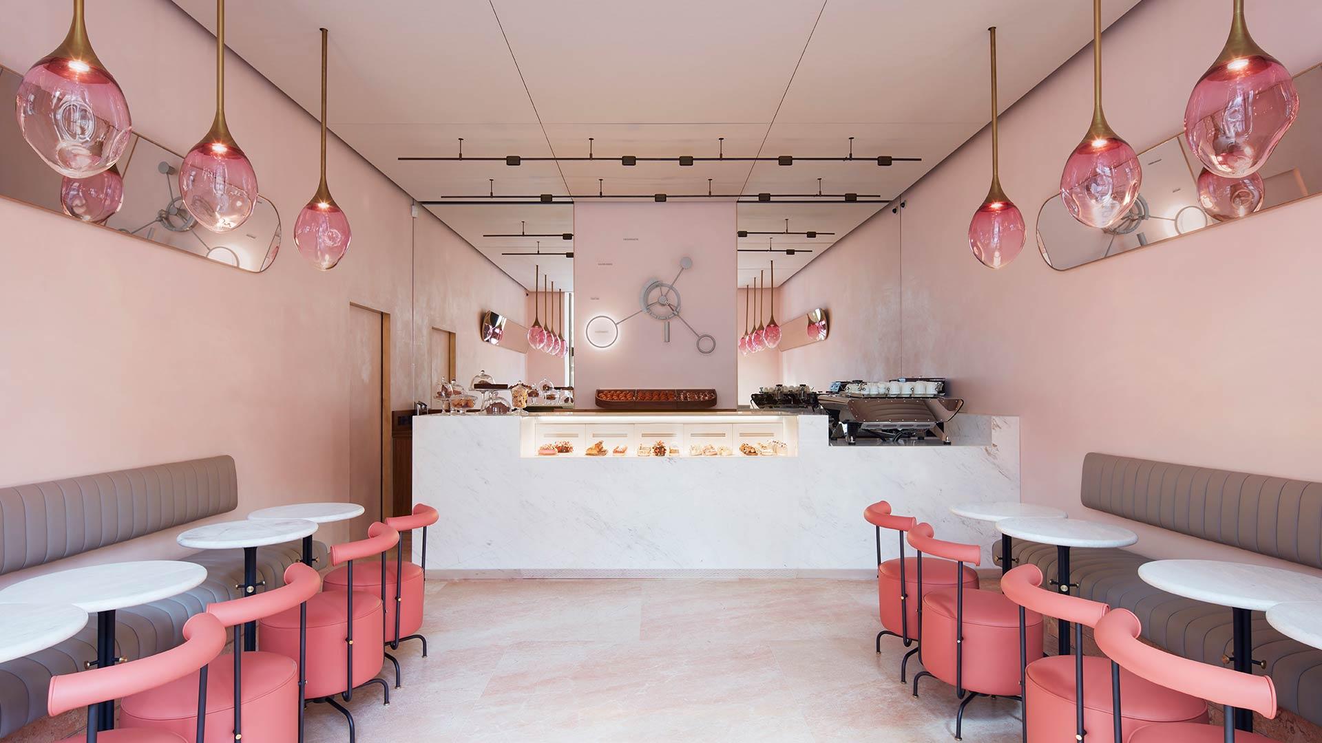 Lighting Scheme Stylish Dusty Pink Interior Palette Luxury Patisserie Cake Shop Mayfair Consultants Nulty