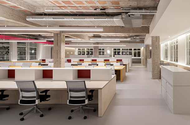 Architectural Lighting Design Open Plan Office Desks Exposed Ceilings Brutalist Interior Selfridges Buying Merchandising Offices Consultants Nulty