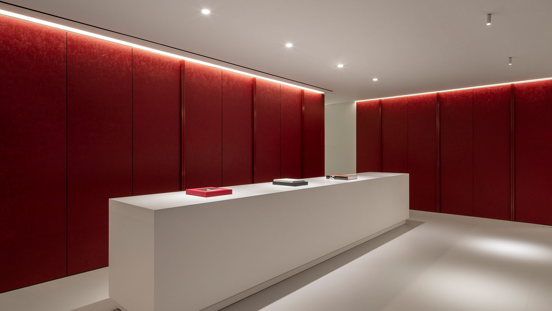 Architectural Lighting Design Low Energy Sleek Contemporary Office Red Feature Walls Merchandise Sample Table Consultants Nulty
