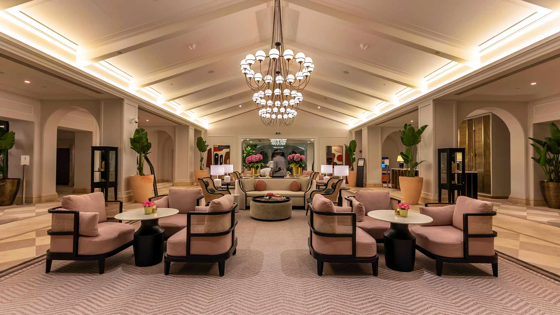 Lighting Hotel Lobby Stylish Relaxing Interior Cove Illumination Cottage Style Ceiling Architecture Feature Pendant Lights Consultants Nulty