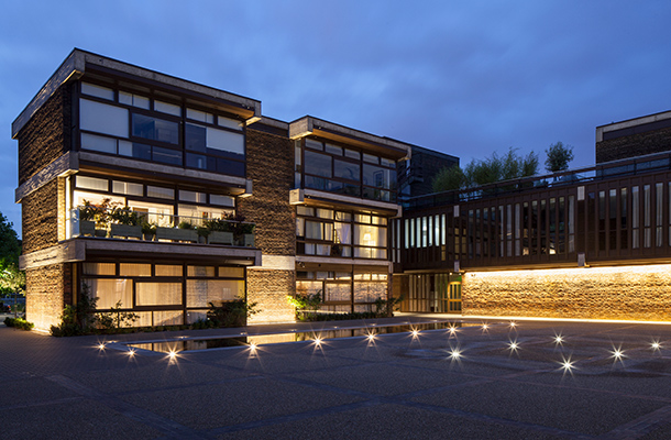 Exterior Architectural Lighting Design Converted Secondary School Residential Development Brutalist Architecture Consultants London Nulty