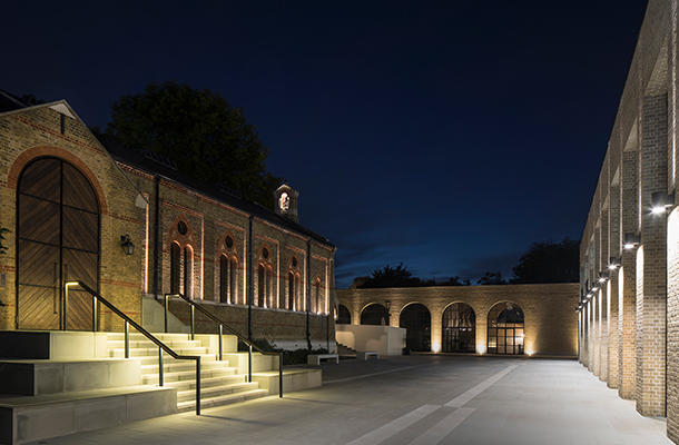 Exterior Lighting Historic Chapel Bell Tower Steps Handrails Facade Illumination Chelsea Barracks London Design Consultants Nulty