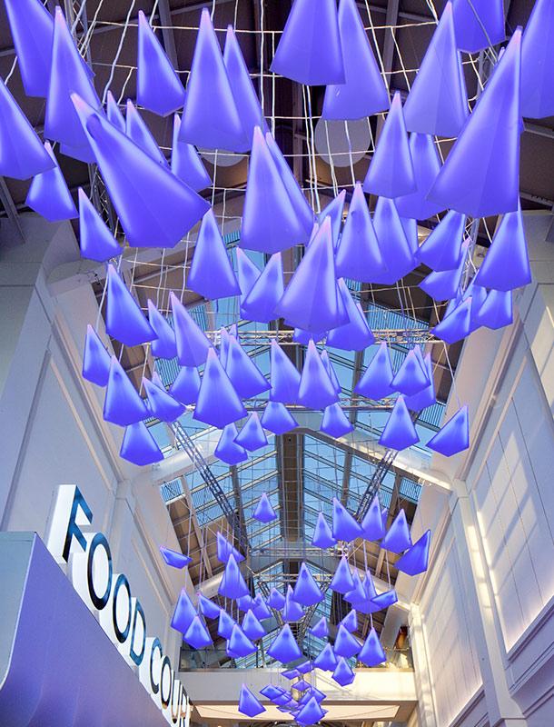 Atrium Lighting Installation Blue Illuminated Flying Birds Shopping Centre UK Designers Nulty