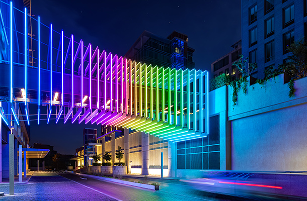 Illuminated Colour Changing Bridge Walkway Dynamic Light Installation DIFC Gate Village Consultants Nulty