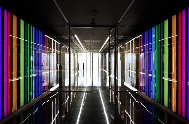 Light Art Colour Blocking Tunnel Business Reception Elevators Designers Nulty