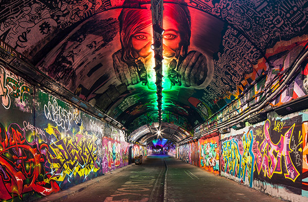 Architectural Lighting Design Scheme Graffiti Tunnel Leake Street Arches Waterloo London Nulty
