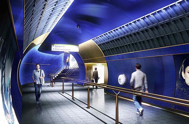 Lighting Design Concept London Underground Station Walkway Blue Interior Consultants Nulty