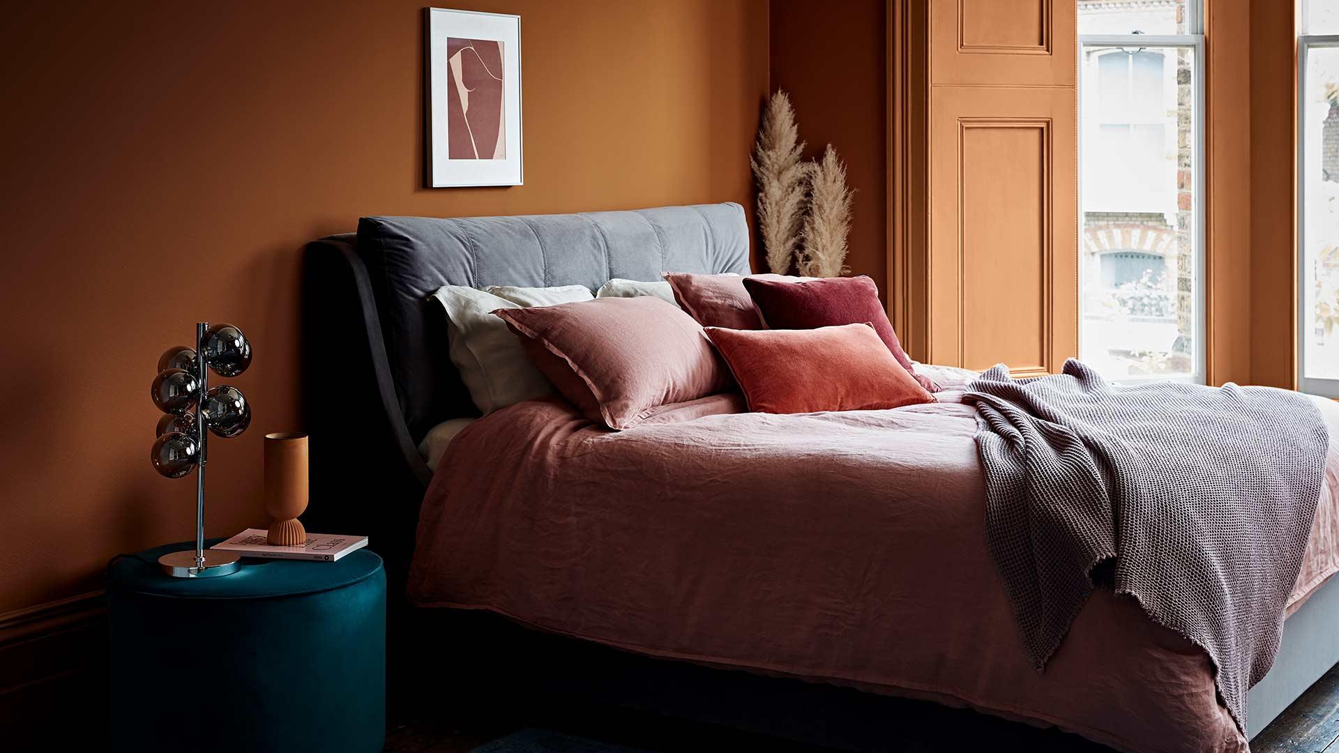 Bedroom Interior Style Orange Walls Stylist Lucy Gough