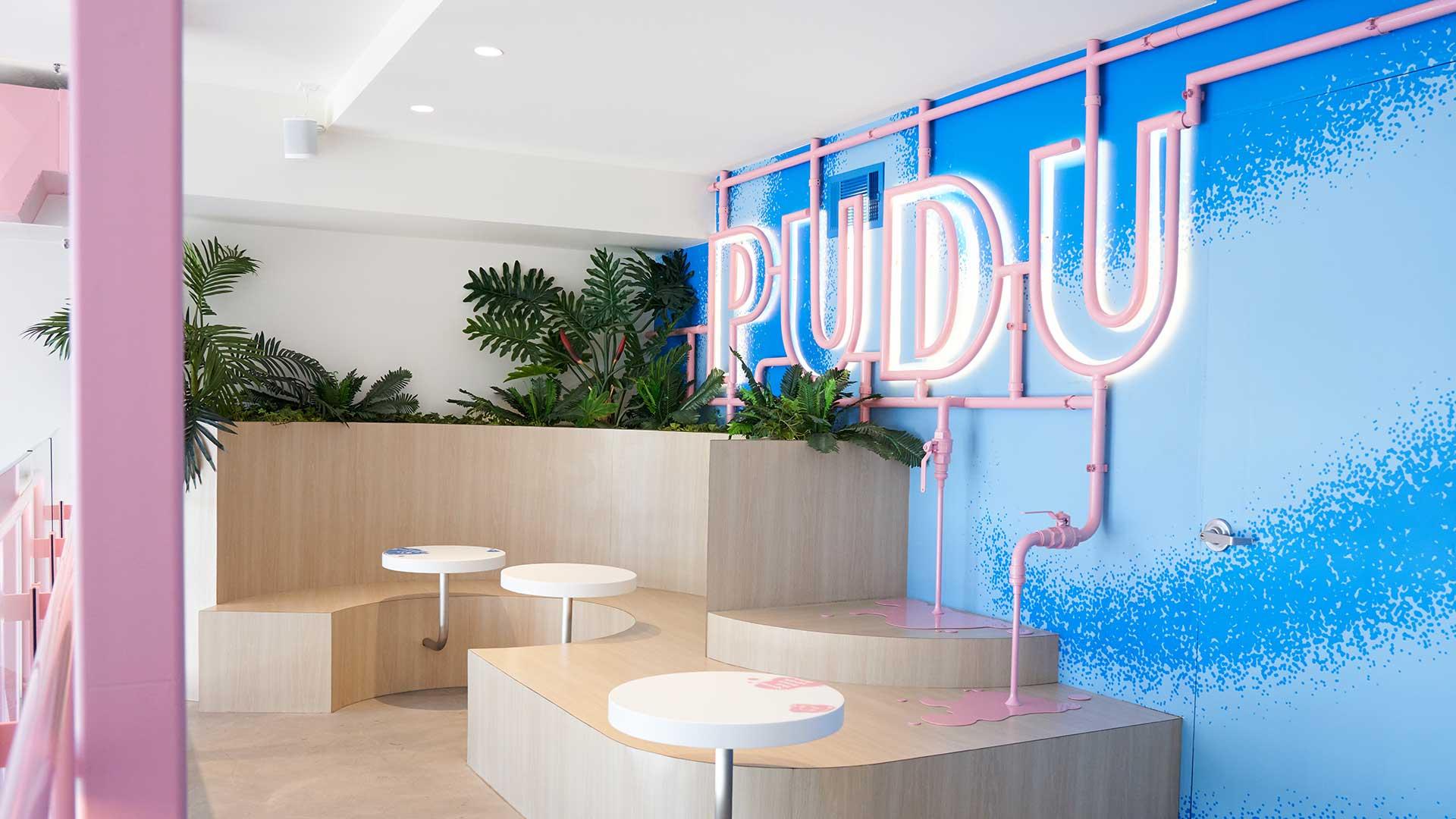 Lighting Design Scheme Pudu Pudu Pudding Store Seating Illuminated Brand Signage Venice California Consultants Nulty